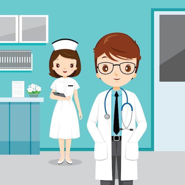 Lekarz I Pielęgniarka W Szpitalu Zawód Ludzi Premium Wektorów
