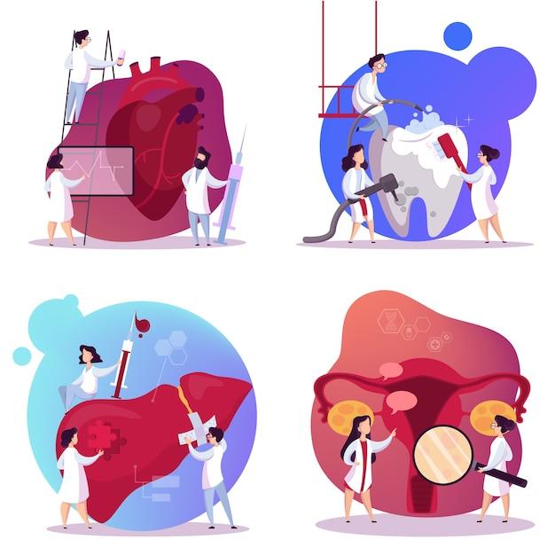 Lekarz I Zestaw Narządów Wewnętrznych. Anatomia Człowieka Premium Wektorów