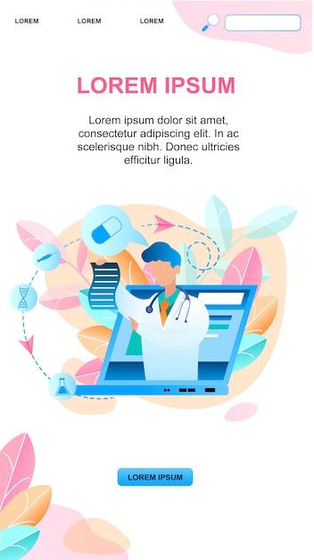 Lekarz Online Banner Pisze Leczenie Na Receptę Darmowych Wektorów