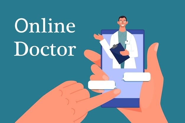 Lekarz Online. Konsultacje Z Profesjonalistą W Internecie Premium Wektorów