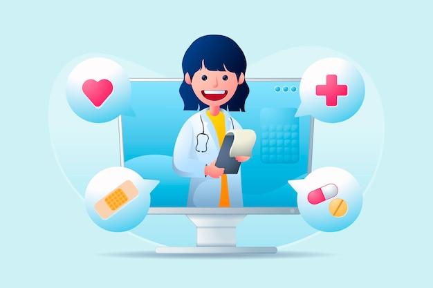 Lekarz Online Pomaga Pacjentom Darmowych Wektorów