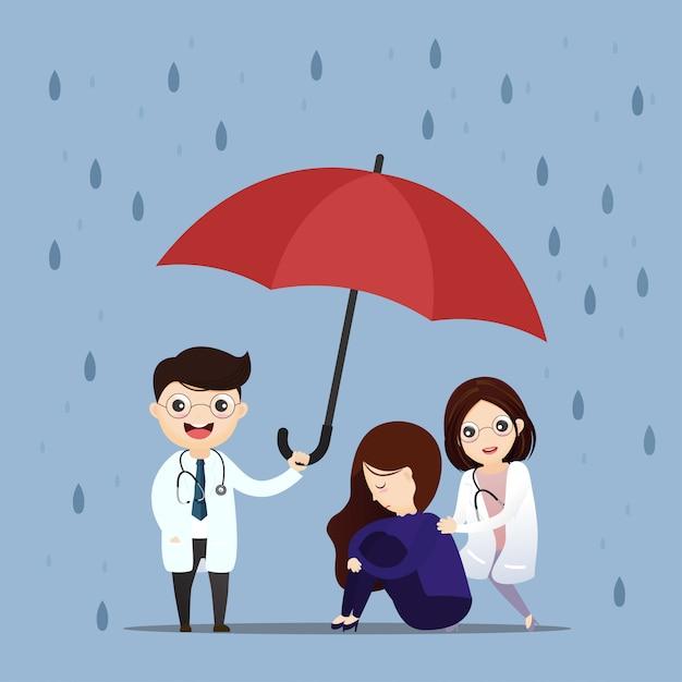 Lekarz Opieki Zdrowotnej Podnosi Parasol. Premium Wektorów