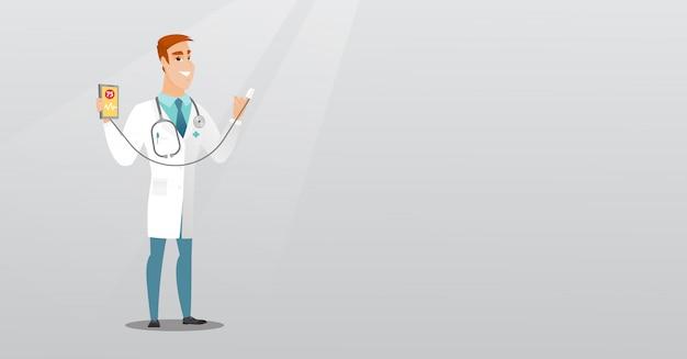 Lekarz Pokazuje Aplikację Do Pomiaru Pulsu Serca. Premium Wektorów