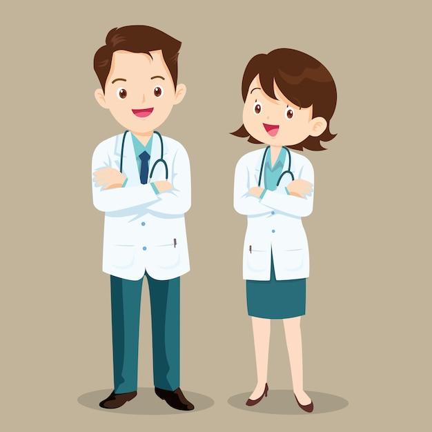 Lekarz Postać Mężczyzny I Kobiety Premium Wektorów