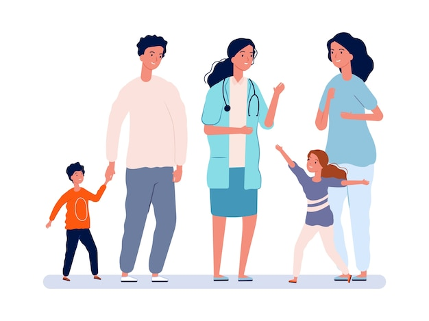 Lekarz Rodzinny. Pediatra, Rodzice Z Dziećmi. Dziewczyna I Chłopiec Radosny Lekarz. Pediatria, Ludzie Na Ilustracji Szpitala. Lekarz Rodzinny Pediatra, Zdrowie I Opieka Premium Wektorów