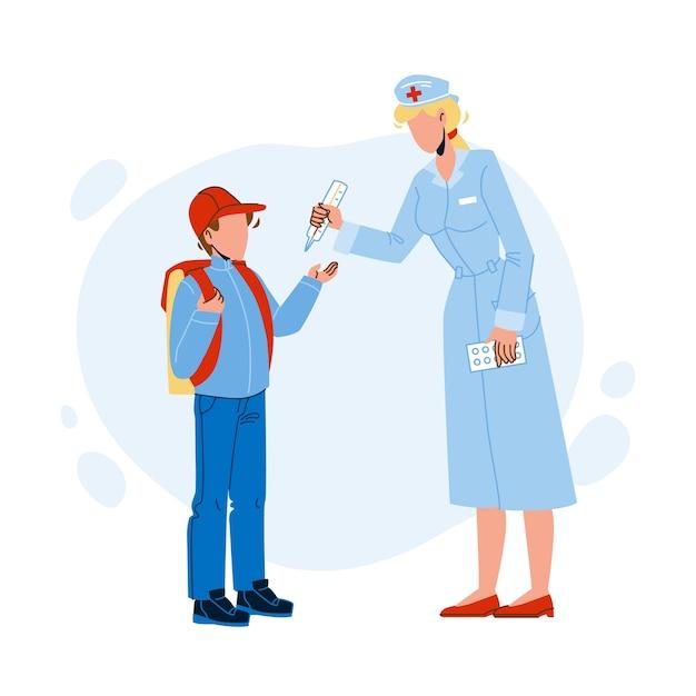 Lekarz Szkolny Mierzy Temperaturę Ucznia Premium Wektorów