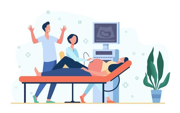 Lekarz Ultrasonografu Badający Ciężarną Kobietę, Skanujący Brzuch Za Pomocą Ultrasonografu. Ilustracja Wektorowa Do Pielęgnacji Ciąży, Ginekologii, Koncepcji Badania Lekarskiego Darmowych Wektorów