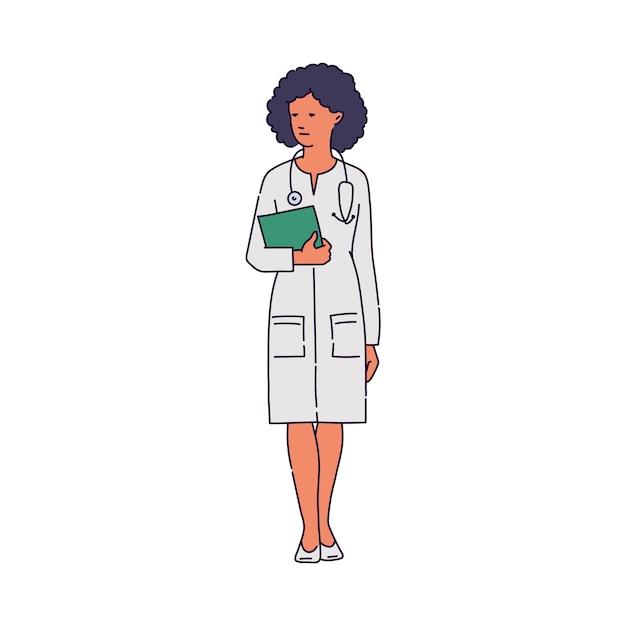 Lekarz W Szkic Postaci Kobiety Biały Szlafrok Medyczny Premium Wektorów