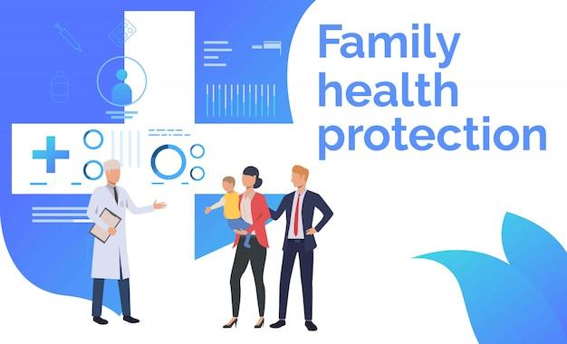 Lekarz wizytujący rodzinę w ośrodku zdrowia Darmowych Wektorów