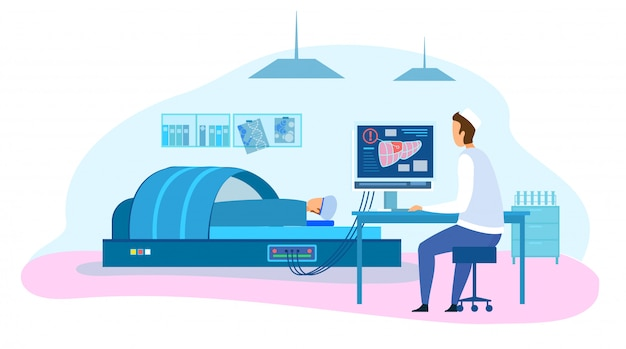 Lekarz Wykonaj Test Diagnostyczny Wątroby U Pacjenta Z Mri Premium Wektorów