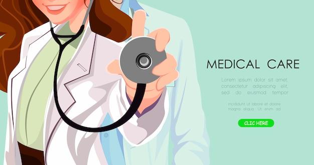 Lekarz z bliska. wykształcenie medyczne Premium Wektorów