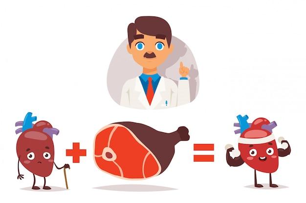 Lekarz Zaleca Jedzenie Mięsa Dla Zdrowego Serca Premium Wektorów