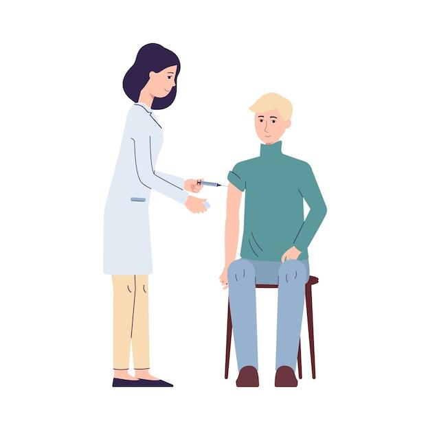 Lekarz Ze Strzykawką Zaszczepił Ilustrację Pacjenta Premium Wektorów