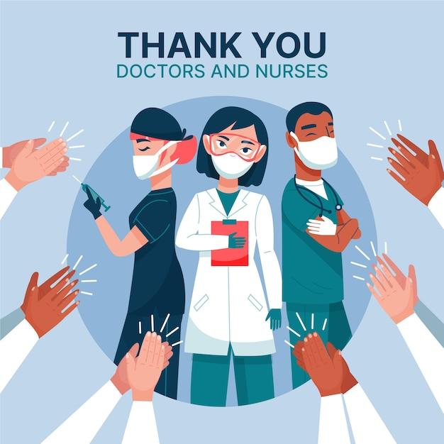 Lekarze I Pielęgniarki Dziękują Darmowych Wektorów