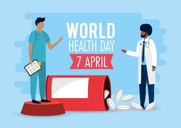 Lekarze medycyny z medycyną na dzień zdrowia Premium Wektorów