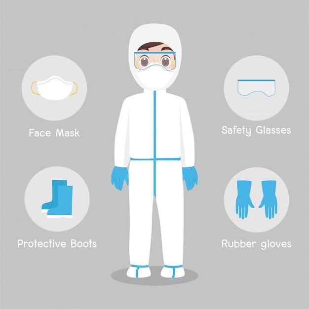 Lekarze Postać Ubrana W Pełny Strój Ochronny Odzież Izolowana I Sprzęt Bezpieczeństwa Premium Wektorów