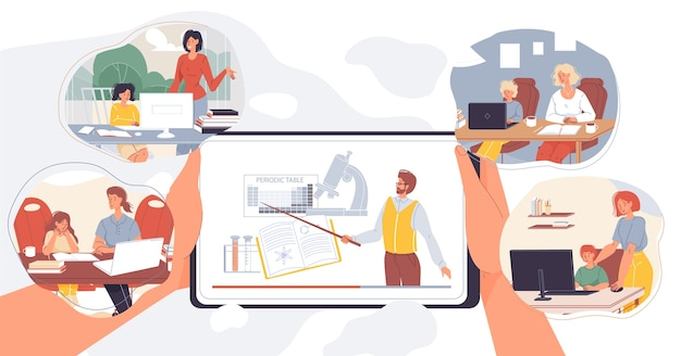 Lekcja Chemii Online Dla Dzieci. Rodzice Pomagają Uczniom Uczyć Się Przedmiotów Szkolnych Przez Internet Za Pomocą Laptopa. Nauczyciel Na Ekranie Tabletu Mobilnego. Cyfrowe Uczenie Się, Zajęcia Wirtualne Premium Wektorów