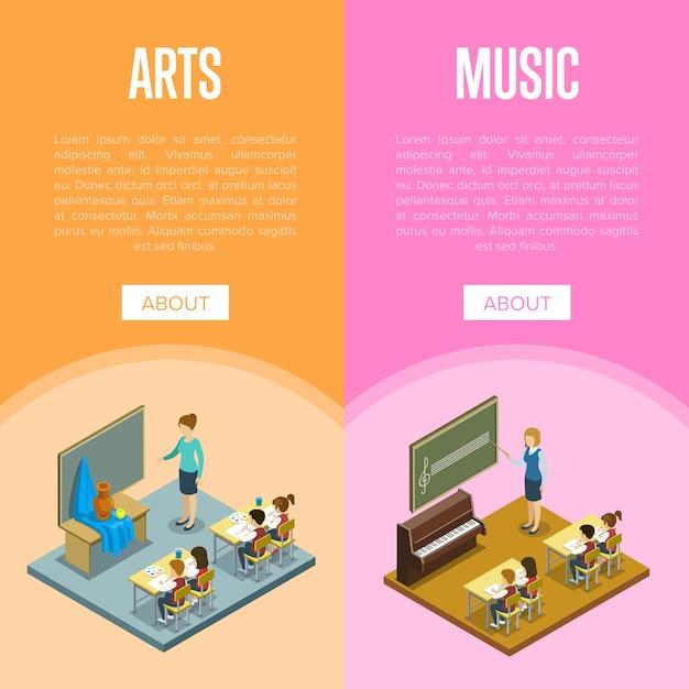 Lekcja sztuki i muzyki w szablonie banner szkolny Premium Wektorów