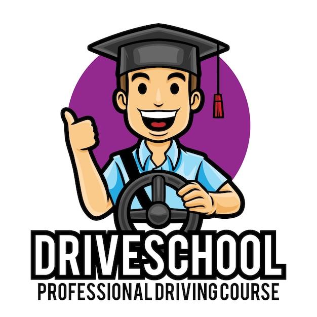 Lekcje Jazdy Samochodem Kurs Logo Maskotka Szablon Premium Wektorów