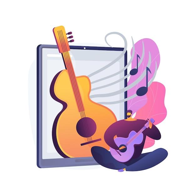 Lekcje Muzyki Online Streszczenie Ilustracja Koncepcja. Wideokonferencje Na żywo, Nauczyciel Muzyki, Zakazywana Kwarantanna, Prywatne Praktyki Online, Profesjonalne Porady Darmowych Wektorów
