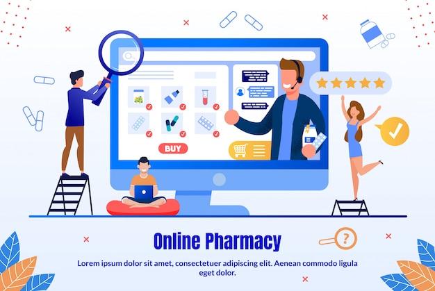 Leki Sklep Internetowy Płaski Sztandar Promocyjny Premium Wektorów