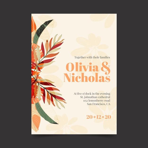 Lekki Szablon Zaproszenia ślubne Z Kwiatowymi Ornamentami Darmowych Wektorów