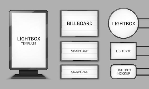 Lekkie pudełka. oświetlenie sklepowe 3d billboardy, znaki retro do kina. Premium Wektorów