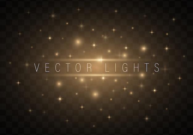 Lekkie streszczenie świecące światła na przezroczystym tle Premium Wektorów