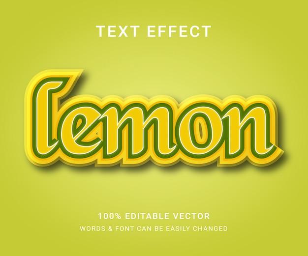 Lemon Pełny Edytowalny Efekt Tekstowy Premium Wektorów