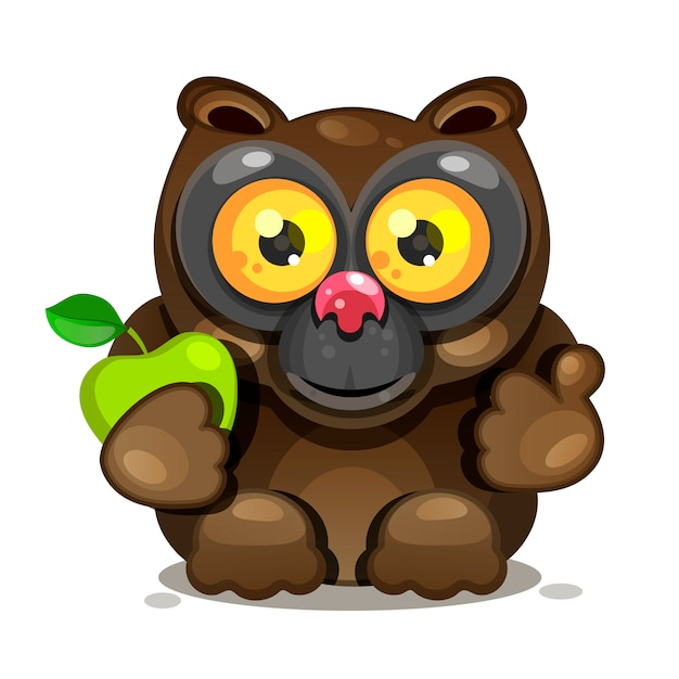 Lemur O Dużych Oczach Siedzi I Trzyma Jabłko. Wektor Premium Wektorów