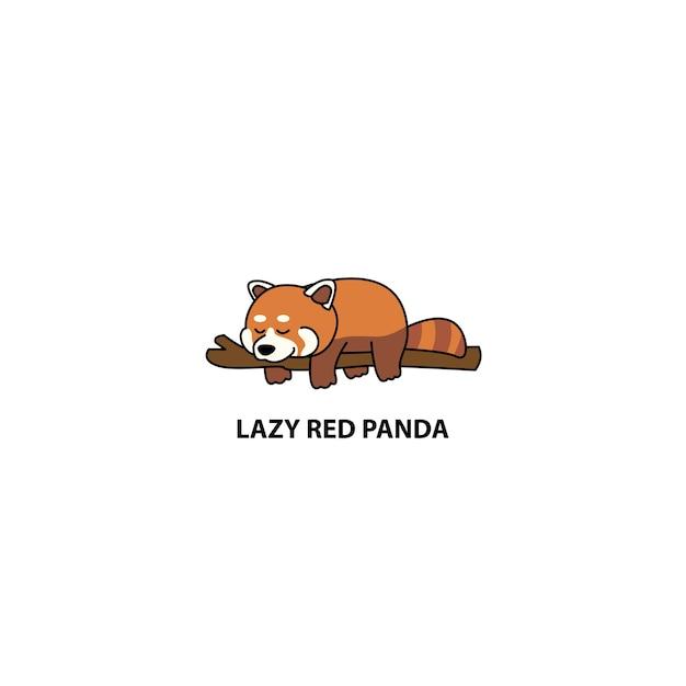 Leniwy Czerwony śpiący Panda Premium Wektorów