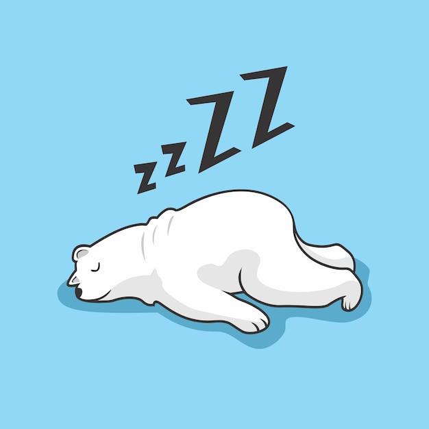 Leniwy Niedźwiedź Polarny Cartoon Animal Sleeping Premium Wektorów