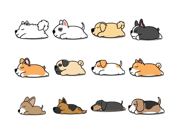 Leniwy pies śpi kreskówka zestaw ikon wektorowych Premium Wektorów