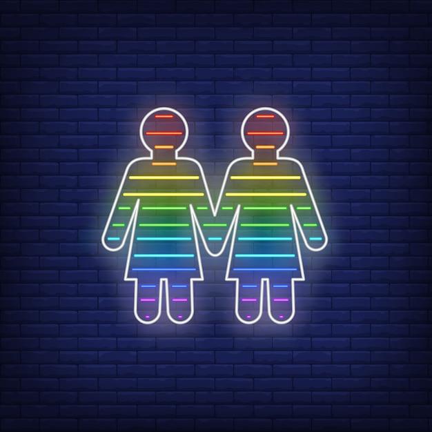 Lesbijski para neon znak Darmowych Wektorów