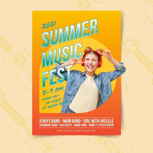 Letni Festyn Muzyczny I Kobieta Plakat Szablon Darmowych Wektorów