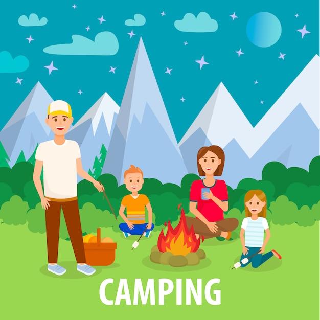 Letni kemping w górach płaski rysunek z tekstem Premium Wektorów