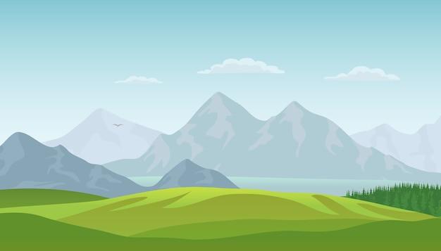 Letni Krajobraz Tło Z Zieloną Doliną, Lasami Sosnowymi, Jeziorem I Górami. Premium Wektorów