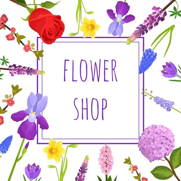 Letni kwiatowy kartkę z życzeniami lub kwiaciarnia z kwitnącymi kwiatami ogrodowymi, Premium Wektorów