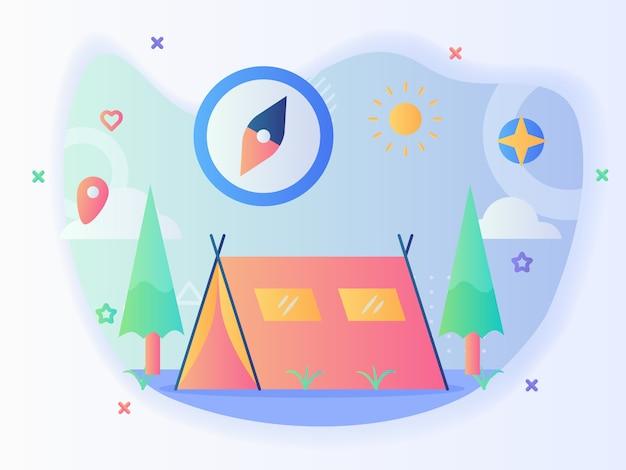 Letni Namiot Kempingowy Koncepcja Kompasu Drzewo Słońce Z Płaskim Stylem Premium Wektorów