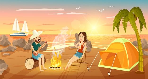 Letni obóz turystyczny na plaży w pobliżu morza Premium Wektorów
