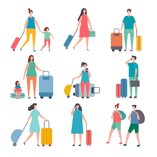 Letni podróżnicy. stylizowane postacie szczęśliwych ludzi jeżdżą na wakacje Premium Wektorów