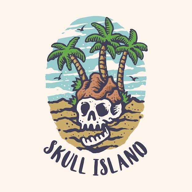 Letni skull island cartoon style t-shirt design Premium Wektorów