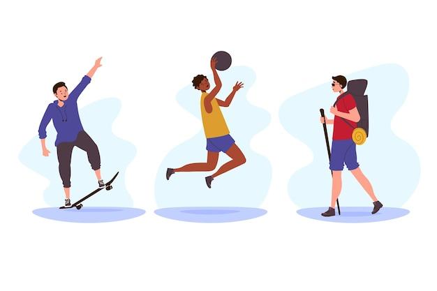 Letni Sportowcy Robią Zajęcia Na świeżym Powietrzu Darmowych Wektorów