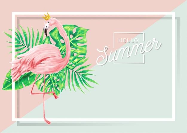 Letni Sztandar Flamingów I Tropikalnych Liści. Premium Wektorów