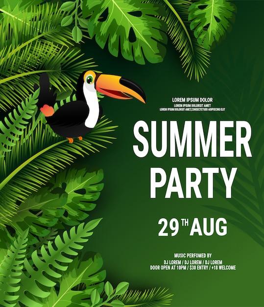Letni tropikalny plakat z ciemnozielonymi liśćmi palmowymi i tukanem Premium Wektorów