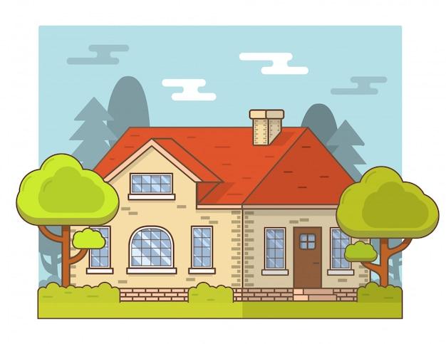 Letni wiejski domek wiejski krajobraz. Premium Wektorów