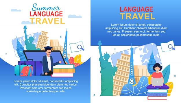 Letni zestaw językowy podróży banner Premium Wektorów