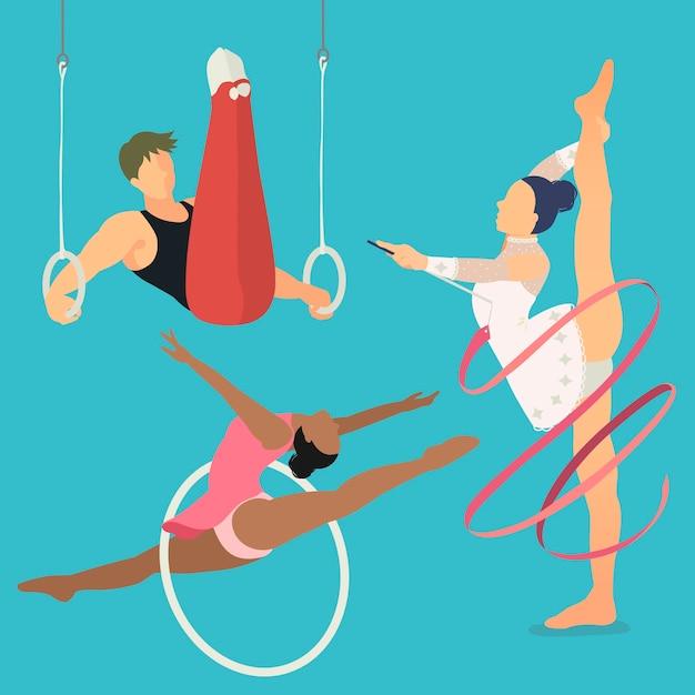 Letnia Impreza Gimnastyczna Artystyczna I Artystyczna W Stylu Płaskiej Premium Wektorów