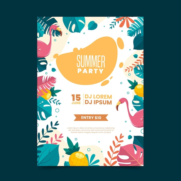 Letnia Impreza Plakat Płaska Konstrukcja Darmowych Wektorów