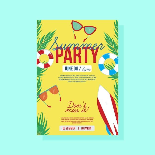Letnia Impreza Plakat Z Okularami Przeciwsłonecznymi I Deską Surfingową Darmowych Wektorów